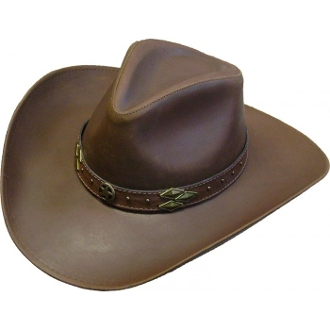 This Mocha Brown Leather Pinch Front Cowboy Hat is a great western hat in a bold brown made of quality cowhide leather with a stylish hat band included for any cowboy or cowgirl.
