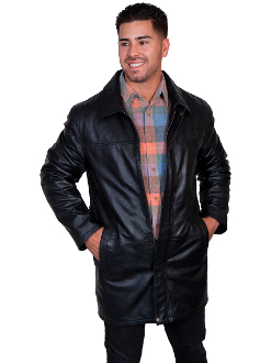 Mens Scully Black Lambskin Leather Long Zip Up Coat