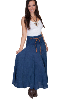 This Scully Womens Blue Denim Full Length Western Skirt is a big hit at a hoedown. Elastic waist band makes an easy fit for women on the go. The Country Western Style looks great with this dark blue womens skirt.
