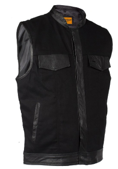 Mens Black Denim Leather Trim Concealed Carry Vest