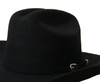 Adult 100% Black Wool Felt Traditional Cowboy Hat