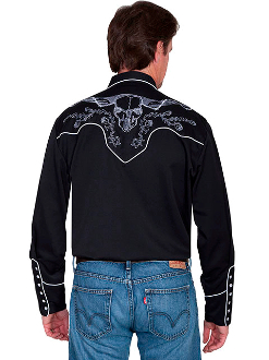 This Mens Scully Skull and Roses Embroidered Black Western Shirt is real ghostly. This retro design for men is a great cowboy look for out on the town. This mens vintage cowboy shirt is also great for everyday.
