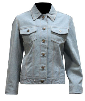 Womens Studded Leather Blue Jean Western Jacket,Womens Leather Jean jacket