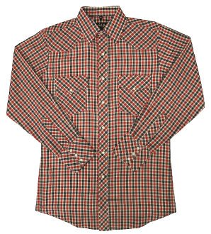 Child Red and Navy plaid pearl snap western shirt