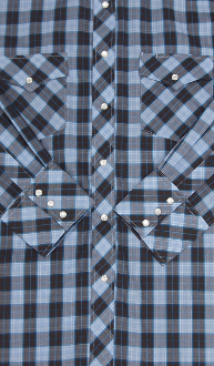 This Mens Black Blue Plaid Longsleeve Pearl Snap Western Shirt is a classic cowboy country comfortable western shirt with western yokes and easy pearl snaps for a country fair or everyday wear.