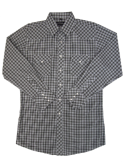 This Mens White and Black Plaid Longsleeve Pearl Snap Western Shirt is a classic cowboy country comfortable western shirt with western yokes and easy pearl snaps for a country fair or everyday wear.