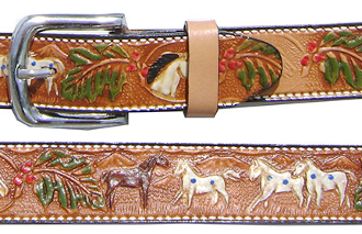 Horse Tooled Brown Leather Kids Western Belt, western belts for kids, kids western belt, childrens western belt, child cowboy belt, kids cowboy belt, leather belts for kids,
