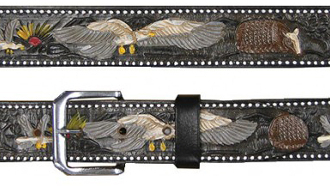 Black Eagle Armadilla Kids Leather Western Belt