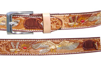 Brown Eagle Armadilla Kids Leather Western Belt