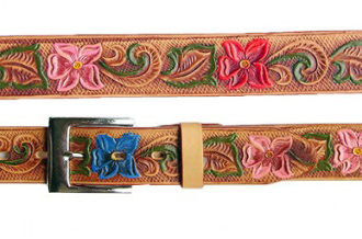 Adult Tan Flower Print Leather Western Belt, Adult Tooled Leather Brown Western Belt, leather western belt, mens brown western belt, brown leather western belt