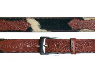 Adult Hair on Cow Hide Leather Western Belt