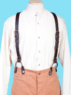 "Great leather suspenders with a ""y"" back for a comfortable fit. 1"" wide suspenders hook on to britches using leather attachment loops. Adjustable. Made in usa."