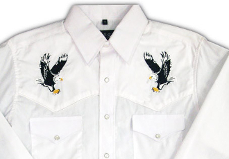 "This Men's ""American Eagle"" White western shirt has detailed embroidered back and top yokes with the great american eagle a staple item to have in your closet of cowboy clothes for men."