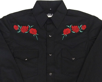 This Mens Red 'Texas Rose' black western shirt features detailed embroidered red roses complete with western yokes and front pockets with retro pearl snaps with matching shirt available.