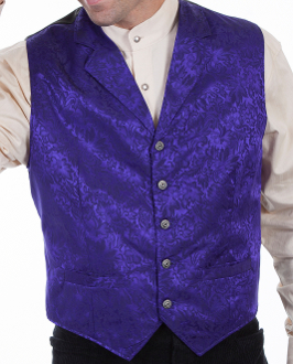 This Scully Mens USA Made purple Silk Lapel Western Vest is a classic 1800's old west frontier look for men in beautiful paisley silk with authentic pewter buttons for a retro vintage cowboy vest worn at any ranch style wedding.