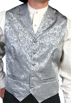 Scully Mens Usa Made Grey Silk Lapel Western Vest