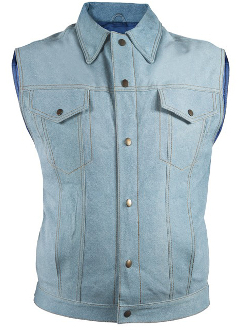 This Mens Snap Front Blue Denim Look Leather Vest is a delight. The leather looks a like blue jean western vest but keeps you warmer because it is leather. Great for either men or women