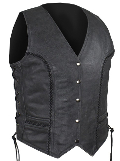 This Womens Concealed Carry Braided Gray Leather Vest is a soft touch leather that features decorative braiding on the front and back with 2 large concealed gun pockets & elastic straps