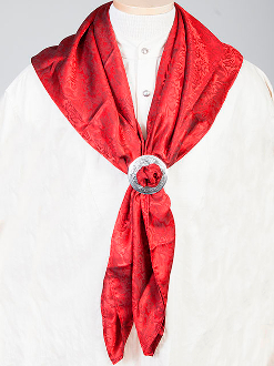 "This Authentic silk jacquard red scarf was made in the USA. It is 40""x 40"" and goes perfect with your old west attire. This gentlemens jacquared scarf is made of fine quality China Silk in the USA"