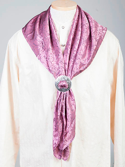 "This Authentic silk jacquard rose scarf was made in the USA. It is 40""x 40"" and goes perfect with your old west attire. This gentlemens jacquared scarf is made of fine quality China Silk in the USA"