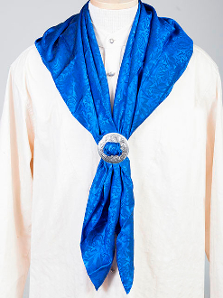 "This Authentic silk jacquard Royal blue scarf was made in the USA. It is 40""x 40"" and goes perfect with your old west attire. This gentlemens jacquard scarf wild rag is made of fine quality China Silk in the USA"