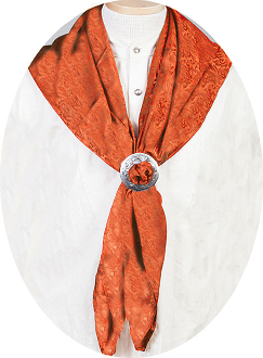 "This Authentic silk jacquard Rust scarf was made in the USA. It is 40""x 40"" and goes perfect with your old west attire. This gentlemens jacquared scarf is made of fine quality China Silk in the USA"