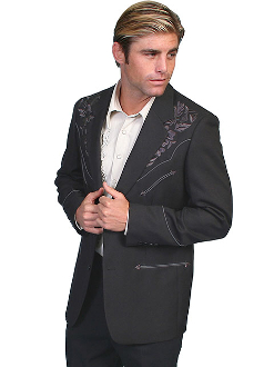 "This ""Charcoal Blazes"" Mens Scully Black Western Blazer is the mens go to cowboy dress coat for that special occasion a throwback to the old west country music days of simple classy looks and style for men."