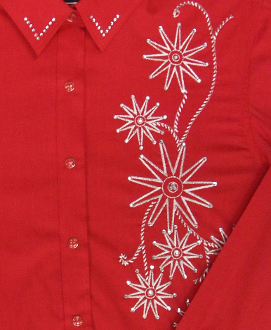 "Ladies ""Rhinestone Rowell"" Red western shirt , vintage western shirts, western vintage clothing, scully western shirt, ladies scully, ladies scully shirts"