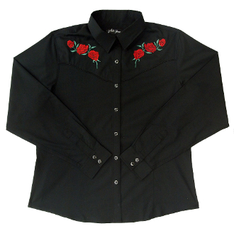 This Womens Red Texas Rose Black Western Shirt roses embroidered front and back vintage piping and retro pearl snaps, available in the mens for matching western shirts. It's a cowboy cowgirl western classic shirt.