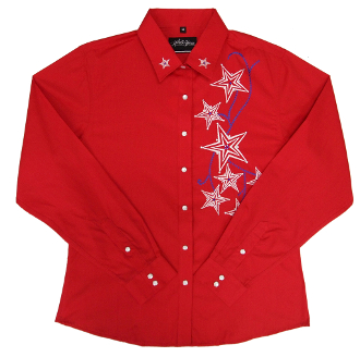 This Womens Star Embroidered Rhinestone Red Western Shirt is a show stopper. The Rhinestone accents on every embroidered star really show up on this beautiful womens western shirt.