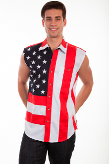 This Scully Mens USA Flag Cutoff Sleeveless Shirt is great way to show your patriotic pride.