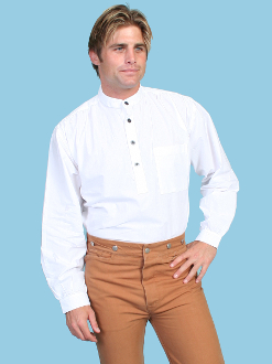 Mens Scully White pull over banded collar shirt