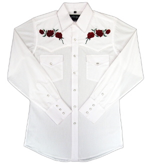 This Mens Red 'Texas Rose' White Western Shirt features detailed embroidered red roses complete with western yokes and front pockets with retro pearl snaps with matching western shirt for both women and men available.
