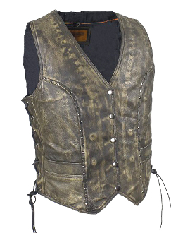 This Womens Concealed Carry Brushed Brown Leather Studded Vest is made of top grain soft tough leather equipped with gun pockets. Women can carry their gun with style without printing for total concealment.