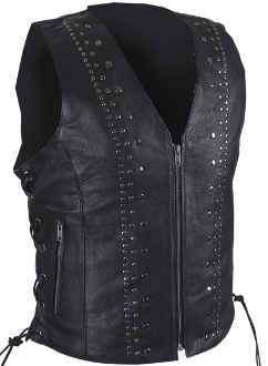 This Womens Leather Satin Nickel Stud Concealed Carry Vest has stylish studs and adjustable sides for an easy fit while concealing your fire arm with no printing,