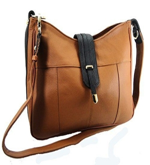 "Our ""Diane"" Women's Tan Leather Concealed Carry Handbag has an actual Holster that means no printing on your purse. No printing with this included gun holster for your leather concealed handbag."