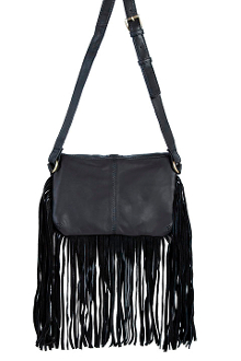 This Black Leather and Suede Womens Fringe Handbag Purse features a flap closure with whip stitch trim and center pull tab with magnetic snap closure. Suede fringe runs down the sides and along the bottom of the bag.