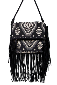 This Womens Aztec Cross Boddy Western Fringe Bag Purse is a very rare find with the unique aztec inspired trim and fringe on a crossbody handbag.