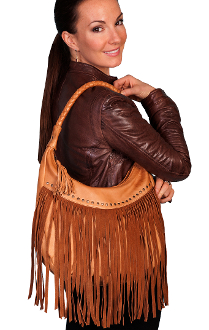"The ""Tina"" Scully Ranch Tan leather fringe western purse is a ladies favorite with long soft leather fringe and a silver studded trim all in a cowgirl handgag"