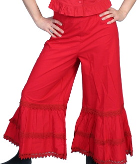These Scully Womens Solid Red Cotton Bloomers have ruffles at the bottom with an elastic waist in the back and string tie in the front. Perfect for any frontier look or womens steampunk clothing.