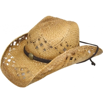 This Child diamond tea stain raffia straw cowboy hat is our most popular hat with the little cowgirls. This hat is a great looking western cowboy hat for any girl with the unique diamond open venting shape for a real rodeo flare.