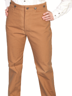 The Womens Wahmaker Brown Canvas Frontier Pants are proudly made in the USA. The popular version of the mens canvas pants. The womens canvas pants have a front button frly with riding pockets and adjustable straps