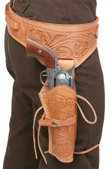 This Natural Tooled Leather 45 Caliber Single Gun Holster holds any 45 hand gun and fits 6 or 8 inch barrels with floral hand tooled leather and back waist bullet holes for a cowboy action shooting western event.
