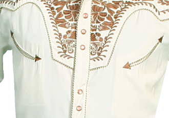 This Natural Gunfighter Scully Men's Short Sleeve Cowboy Shirt is a western favorite with the comfort of the short sleeves with beautiful vintage smiley pockets and retro floral embroidered yoke with pearl snaps.