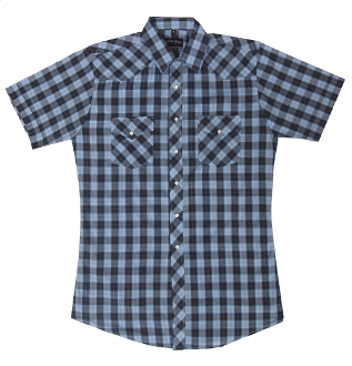 This Mens Blue Black Plaid Short Sleeve Pearl Snap Western Shirt is great for the spring and summer camping shirt in a comfortable short sleeve with the retro pearl snaps for men.