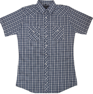This Mens White and Blue Plaid Short Sleeve Pearl Snap Western Shirt is great for the spring and summer camping shirt in a comfortable short sleeve with the retro pearl snaps for men.