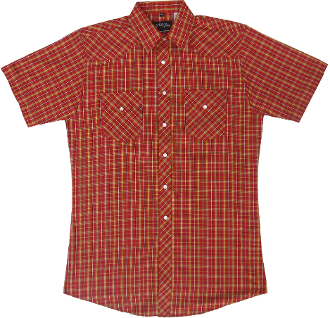 This Mens Blue Gold Red Plaid Short Sleeve Pearl Snap Western Shirt is great for the spring and summer camping shirt in a comfortable short sleeve with the retro pearl snaps for men.