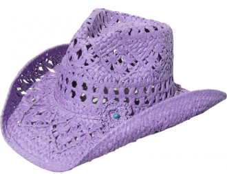 This kids Purple Toyo Straw Cowgirl Hat fits perfect with its inner stretch band fitting on this shape-able brim hat and the cool open venting on this purple straw hat makes it lightweight and comfortable
