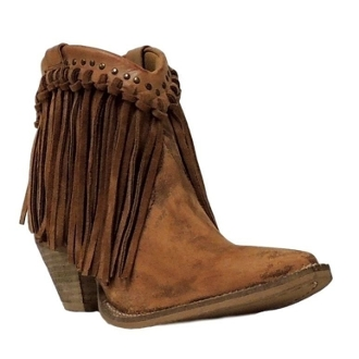 Usa Made Womens Short Brown Suede Fringe Cowboy Boots