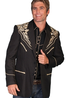 "This ""Gunfighter Blazer"" Gold/Black Mens Scully Western Blazer is the mens go to cowboy dress coat for that special occasion a throwback to the old west country music days of simple classy looks and style for men."